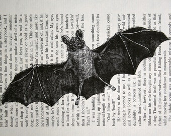 As seen on TRUE BLOOD - Bat Print - Vintage Dracula Book Page Print - Halloween Print Vampire Bat Print used on True Blood