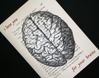 Brain Print - Valentine Print - I Love You For Your Brains Anatomy Print Valentines Day - Valentines Day Gift - Anatomical Brain