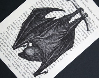As seen on TRUE BLOOD - Bat Print - Vintage Dracula Book Page Print - 5 x 7 Vampire Bat Print used on True Blood - Halloween Print