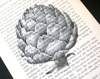Artichoke Print - Vintage Book Page print - 5 x 7 Vegetable Print or Garden Print or Kitchen Decor
