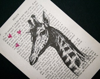 Giraffe Print - Vintage French Book Page Print - 5 x 7 Loverboy Giraffe Art - Giraffe with Love Hearts