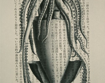 Squid Print on Vintage Japanese Book Page  - 5 x 7