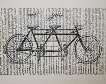 Tandem Bike Print on Vintage Latin Dictionary Page - 5 x7 Me and You Tandem Bicycle Print - Bike Art for Valentines Day Gift