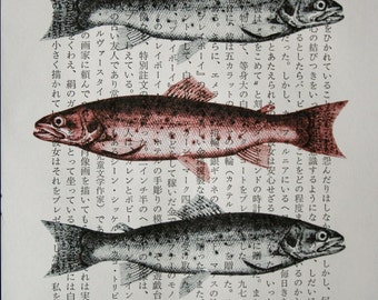 Fish Print - Vintage Japanese Book Page Print - 5 x 7 Fish Art - Asian Print