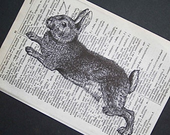 Rabbit Print on Vintage French English Dictionary - 5 x 7 Leaping Bunny Print