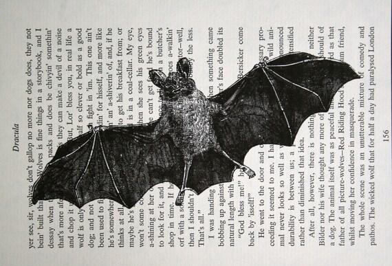 As seen on TRUE BLOOD - Bat Print - Vintage Dracula Book Page Print - Halloween Print Vampire Bat Print used on True Blood