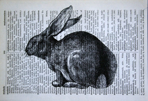 Rabbit Print - Vintage French Dictionary Print - 5 x 7 Bunny Print for Easter - Easter Bunny Print