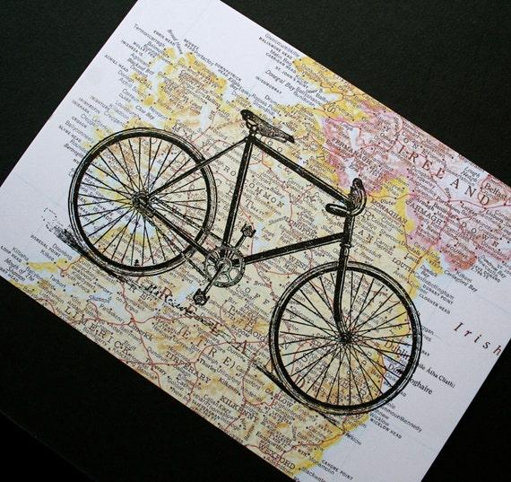 Bike Print - Bicycle Print - Irish Gift - Map of Ireland - St. Patrick's Day Gift - Irish Map Print - Bike Art - Ireland Map Art