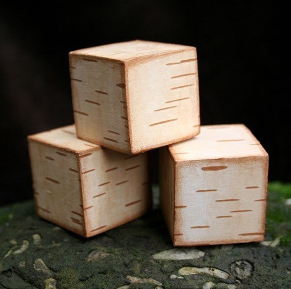 Rustic Birch Blocks - Set of 3