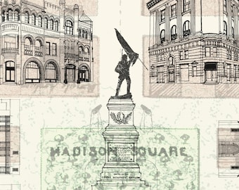 MADISON SQUARE Savannah No. 6  (Art Print) Architecture Historic City Map Drawing SCAD Savannah Wedding ShopSCAD Gift Realtor Vintage Map