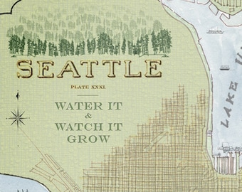 SEATTLE Map (Art Print) WASHINGTON City Map Wall Art Vintage Drawing Gift Elliott Bay Ships Lake Union Houseboats Urban Plan Old Town