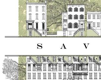 SAVANNAH Rowhomes No. 5 (Art Print) Architectural Streetscape Drawing