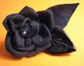 Silk \/Leather Flower Brooch wBlack Pearl