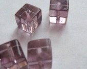 49 Purple Pressed Glass Cubes - 8mm