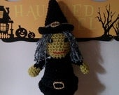 Wanda Hand crocheted amigurumi witch Halloween decoration  15 inches tall