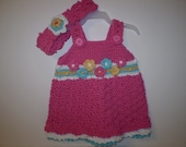 Blossoming beauty sundress handcrocheted for baby girl newborn to 6 months with matching headband