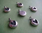 2 Stamped Heart Charms for necklace or earring supply sterling silver