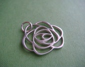1 Small Deco Rose charm in Sterling Silver for Jewelry Supply