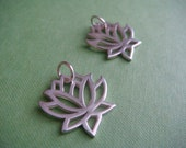 2 Lovely Lotus Sterling Silver Charms or Pendants for Jewelry Supply