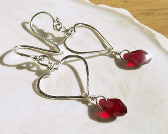 Heart Sterling Earrings ON SALE Hand Formed Hammered Wire Hearts Red Swarovski Crystal Sterling Silver Earrings Valentine Jewelry Gift