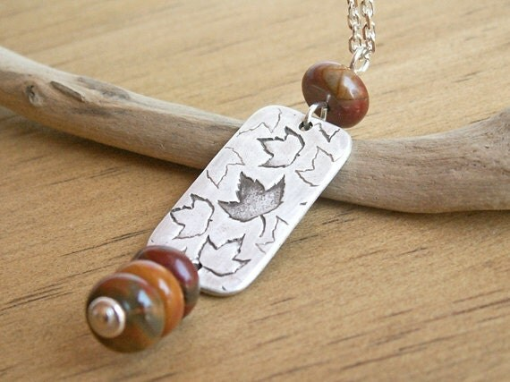 Scattered Leaves Fall Colors Necklace .925 sterling chain earthy Jasper beads autumn design in recycled Fine Silver rectangle charm pendant