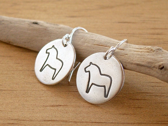 Small Dala Earrings horse design on handmade recycled fine silver disc simple Swedish folk art
