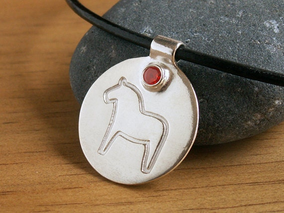 Swedish Dala Horse Necklace large handmade recycled Fine Silver modern pendant orange CZ cubic zirconia accent on black leather cord
