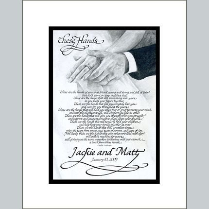 These Hands Personalized Calligraphy Poemwedding And