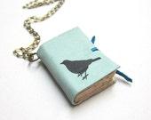 Light Blue Leather Book Necklace