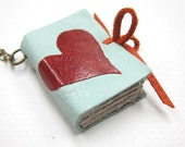 Light Blue Leather Book Necklace with Red Heart