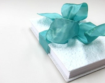 Wedding Photo Album , Accordion Book , Fotoalbum, with Sky Blue-Colored Ribbon
