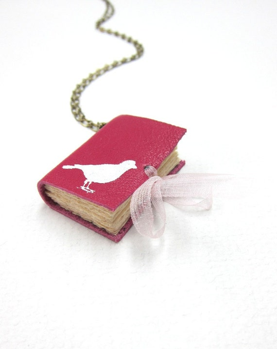 Blank Pink Leather Book Necklace/Jewelery/Mini Diary with a White Pigeon
