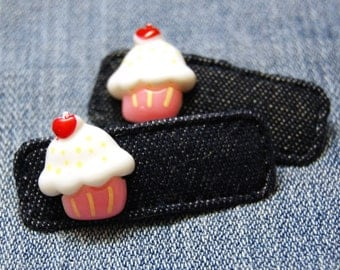 Denim Cupcake Hair Clip