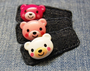 Denim Teddy Hair Clip