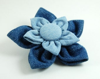 Recycled Denim Flower Brooch