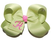 Initial Bow - Personalized Bow - Baby Headband Bow - Toddler Bow - Baby Bow - Embroidered Bow - 80 Color Choices