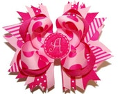 Pink Polka Dot Custom Embroidered Monogram Bow