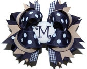 Uniform Bow - School Bow - Custom Embroidered with Your Child's Initial - Personalized Bow - Headband Bow