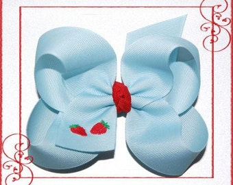 Made to Match Gymboree Burst of Spring Embroidered Strawberry Bow - Toddler Bow - Baby Bow - Headband Bows