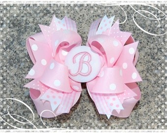 Custom Embroidered Bow - Monogrammed Bow - Personalized Bow - Headband Bow - Monogrammed Initial Bow