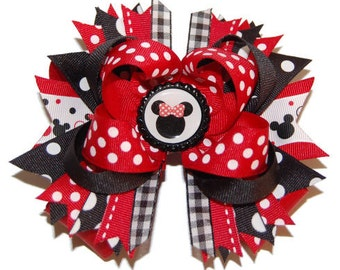 Minnie Mouse Inspired Large Layered Boutique Bow