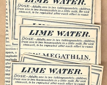 Antique Pharmacy  Apothocary Chemist Labels LIME WATER