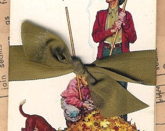 5 Vintage Playing Cards - Norman Rockwell Fall Leaves