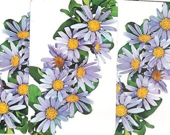 5 Vintage Playing Cards - Lavendar Daisy