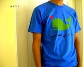 adult women's and unisex arabic t.  whale in love.