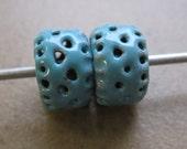 SueBeads - Sapphire Filigree Rondelle Enameled Bead Pair - Enameled Beads - OOAK
