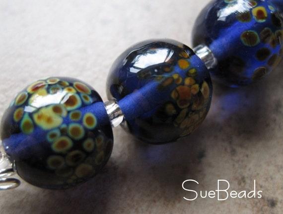 SueBeads - Ink Purple Raku Set of Five - Handmade Lampwork Beads - SRA M67