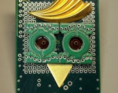 RECYCLED CIRCUIT BOARD Owl Geekery MAGNET Give a HOOT