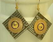 Recycled Bronze CIRCUIT BOARD Earrings Vintage Brass
