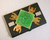 Recycled CIRCUIT BOARD Metal Business Card Holder Vintage PAPERWEIGHT